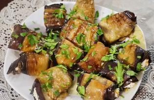 Закуска из баклажанов с сырной массой (пошаговый фото рецепт)