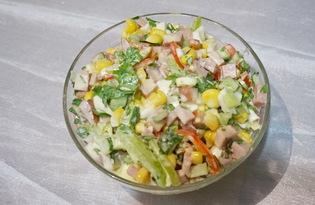 Салат с ветчиной и овощами (пошаговый фото рецепт)