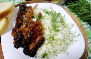 Ребра, запеченные с медом, специями и кунжутом (пошаговый фото рецепты)