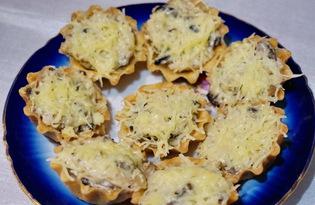 Жульен с грибами в тарталетках (пошаговый фото рецепт)