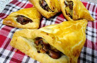 Слойка с куриной печенью и луком (пошаговый фото рецепт)