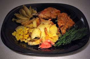 Курятина с овощами в духовке (пошаговый фото рецепт)