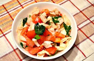 Диетический куриный салат с помидорами и капустой (пошаговый фото рецепт)