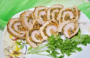 Мясной рулет с овощной начинкой (пошаговый фото рецепт)