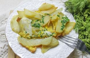 Жареный картофель с яйцами и шнитт-луком (пошаговый фото рецепт)