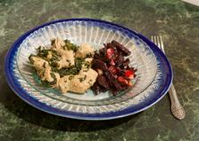 Жареная индейка со шпинатом (пошаговый фото рецепт)