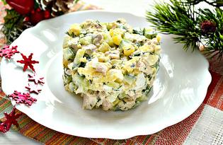 Салат со свежими огурцами и курицей (пошаговый фото рецепт)
