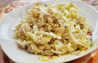 Салат из пекинской капусты, грибов и курицы (пошаговый фото рецепт)