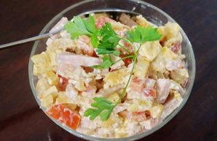 Салат из ветчины, помидоров и сухариков (пошаговый фото рецепт)