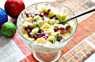 Фруктовый микс с йогуртом и зернами граната (пошаговый фото рецепт)