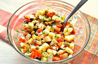 Простой салат с корнишонами и горошком (пошаговый фото рецепт)