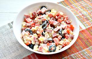 Салат с маслинами и колбасой (пошаговый фото рецепт)