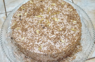 Легкий шоколадный торт с фруктами (пошаговый фото рецепт)