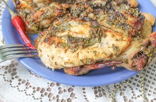 Запеченный цыпленок в духовке (пошаговый фото рецепт)