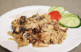 Куриная грудка с грибами и луком (пошаговый фото рецепт)