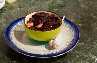 Тёплый свекольный салат с чесноком и брынзой (пошаговый фото рецепт)
