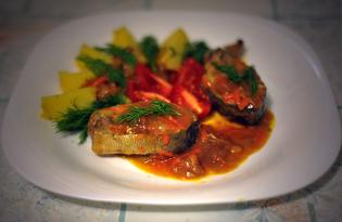 Горбуша тушеная с овощами в подливе (пошаговый фото рецепт)