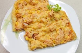 Пицца с колбасой и кукурузой на слоеном тесте (пошаговый фото рецепт)