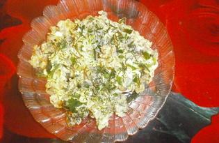 «Оливье» с жаренными шампиньонами и зеленым луком (пошаговый фото рецепт)