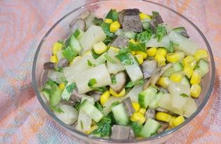 Салат с печенью, грибами и огурцом (пошаговый фото рецепт)