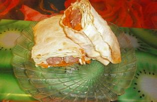 Хот-дог в лаваше с копчеными сосисками (пошаговый фото рецепт)