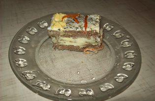 Закусочный печеночный торт с грибами (пошаговый фото рецепт)