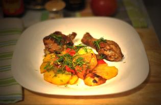 Жареная курица с картофелем и перцем (пошаговый фото рецепт)
