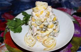 Салат из курицы, огурца и омлета (пошаговый фото рецепт)