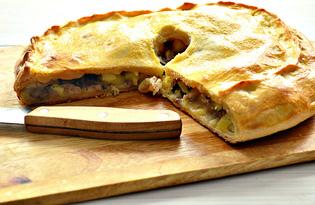 Пирог со свининой, курицей и картофелем (пошаговый фото рецепт)