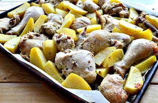 Картофельные дольки с курицей (пошаговый фото рецепт)