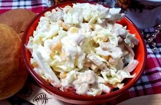 Салат из пекинской капусты с курицей, кукурузой и сухариками (пошаговый фото рецепт)
