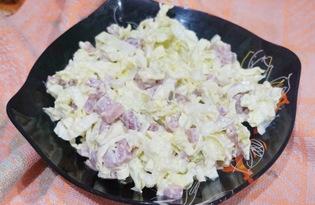 Салат с пекинской капустой, сулугуни и колбасой (пошаговый фото рецепт)