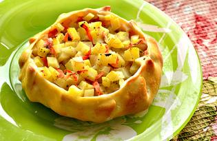 Открытые пирожки с картофелем и курицей (пошаговый фото рецепт)
