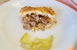 Свинина запеченная с грибами под соусом бешамель (пошаговый фото рецепт)