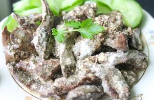 Печень куриная по-строгановски (пошаговый фото рецепт)