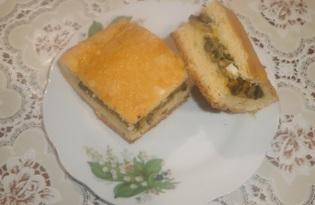 Пирог с начинкой из грибов и яиц (пошаговый фото рецепт)