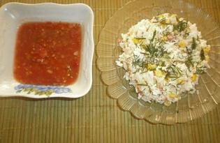 Салат с крабовыми палочками и аджикой (пошаговый фото рецепт)