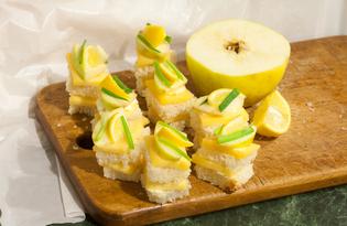 Канапе с сыром, яблоками и лимоном (пошаговый фото рецепт)