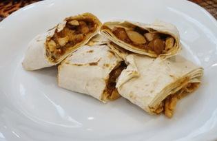 Лаваш с начинкой из курицы и фасоли (пошаговый фото рецепт)