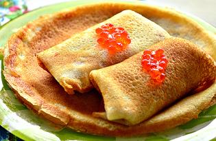 Заварные блины с красной икрой (пошаговый фото рецепт)
