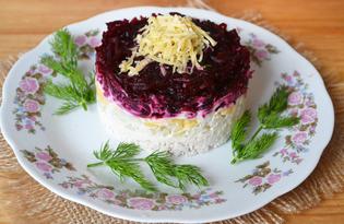 Куриный салат со свеклой (пошаговый фото рецепт)