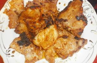 Свинина жареная с кетчупом, майонезом, имбирем (пошаговый фото рецепт)