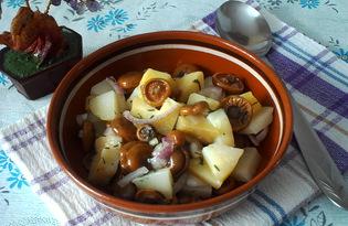 Салат из маринованных грибов и картофеля (пошаговый фото рецепт)