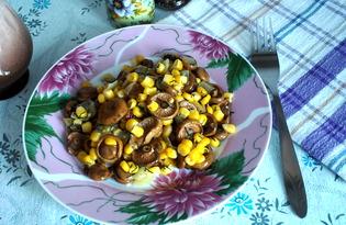 Салат из маринованных грибов с консервированной кукурузой (пошаговый фото рецепт)