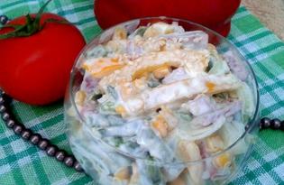 Салат из куриного филе с ветчиной, спаржей и болгарским перцем (пошаговый фото рецепт)