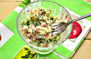 Салат из свежего огурца, крабовых палочек и сыра (пошаговый фото рецепт)