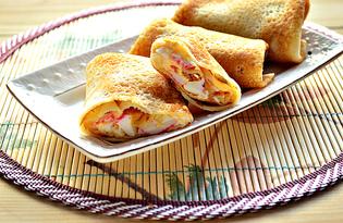 Блины с начинкой из яиц и крабовых палочек (пошаговый фото рецепт)
