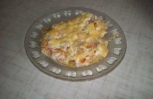 Капустная запеканка с сыром и сосиской (пошаговый фото рецепт)