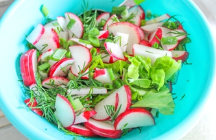 Весенний салат из редиса (пошаговый фото рецепт)