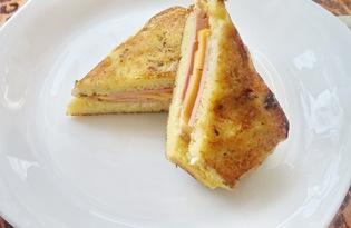 Гренки с колбасой и сыром (пошаговый фото рецепт)